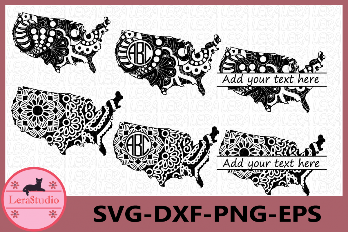 USA Svg, usa Mandala Svg, USA Zentangle svg, usa monogram example image 1