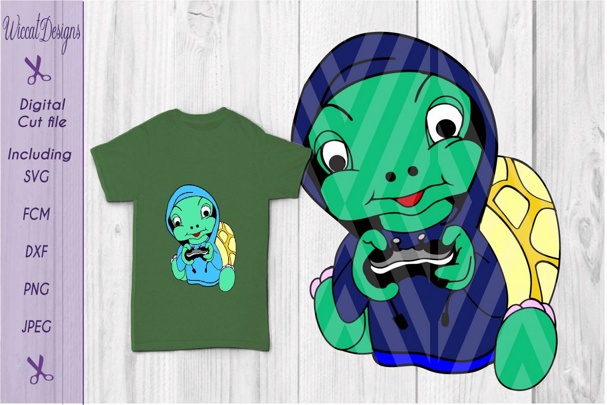 Turtle svg, gaming svg, kids shirt svg, hoodie svg, vinyl cut file example image 1
