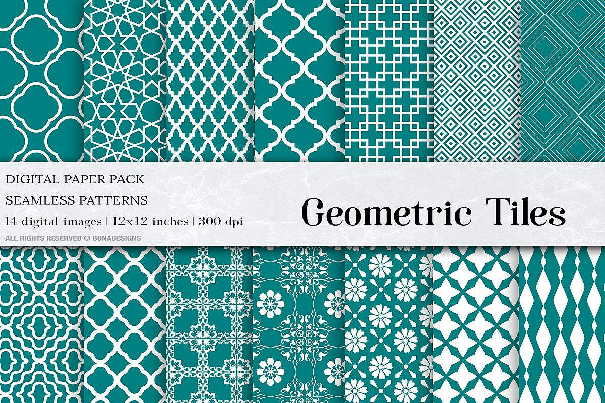 Teal Geometric Tiles Seamless Patterns