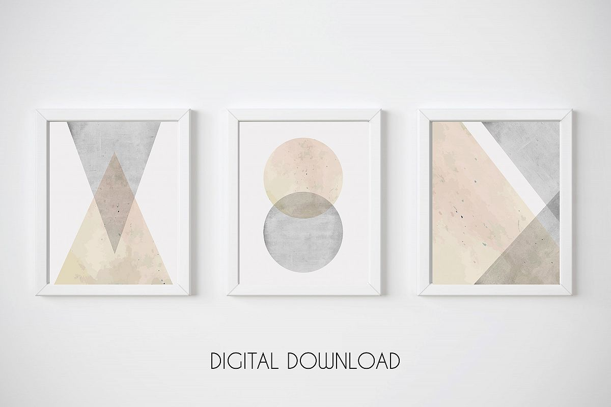 Geometric Wall Art, Set of 3 Prints, Pink and Grey Wall Art example image 1