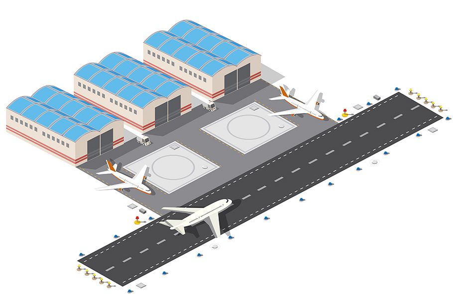 Isometric plan of the city airport example image 1