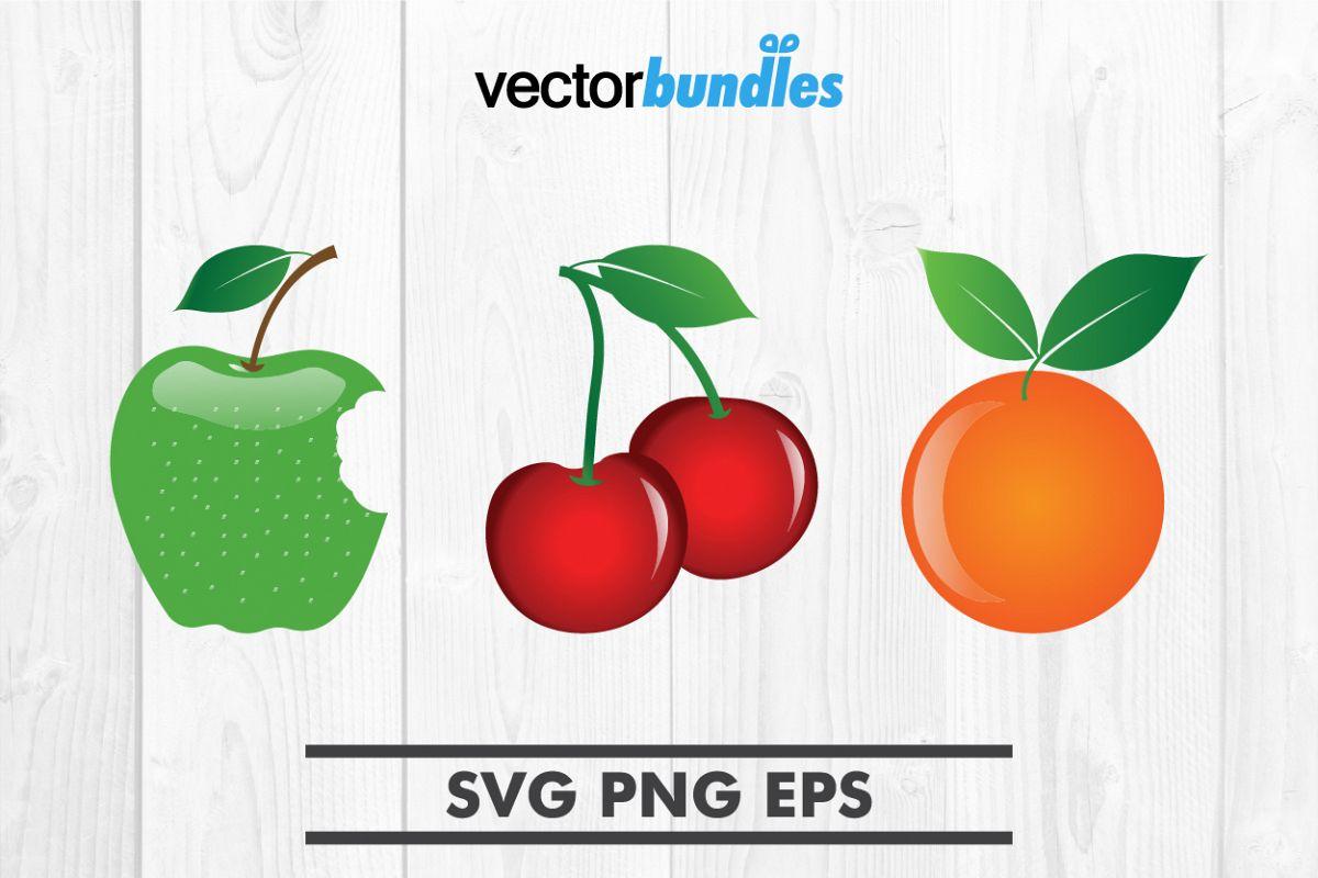 Apple orange cherry fruit clip art svg example image 1