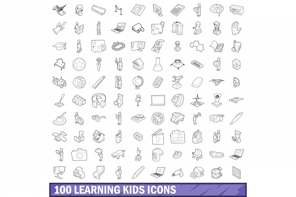 100 learning kids icons set, outline style example image 1