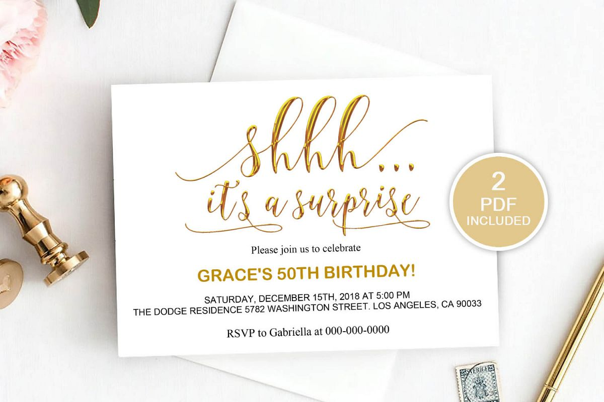 surprise party invitation template  dad 20