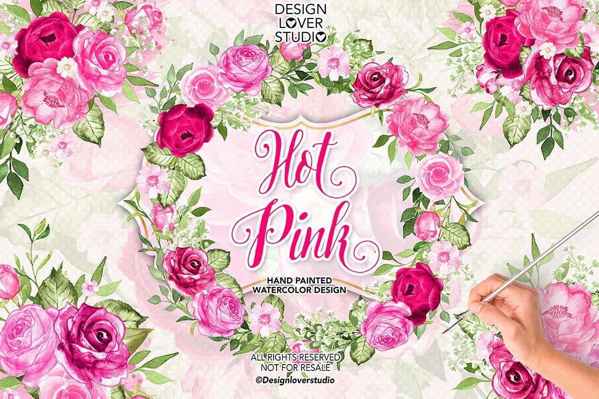 Watercolor HOT PINK wreath/arrangements example image 1