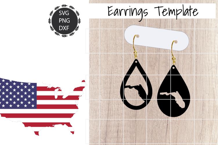 Earrings Template - Florida Teardrop Earrings Svg example image 1