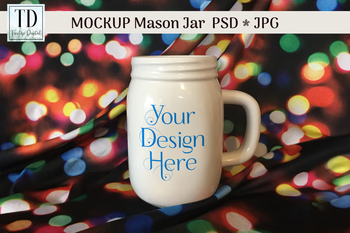 Mason Jar Mug Christmas Mockup, PSD Smart Object & JPG example image 1