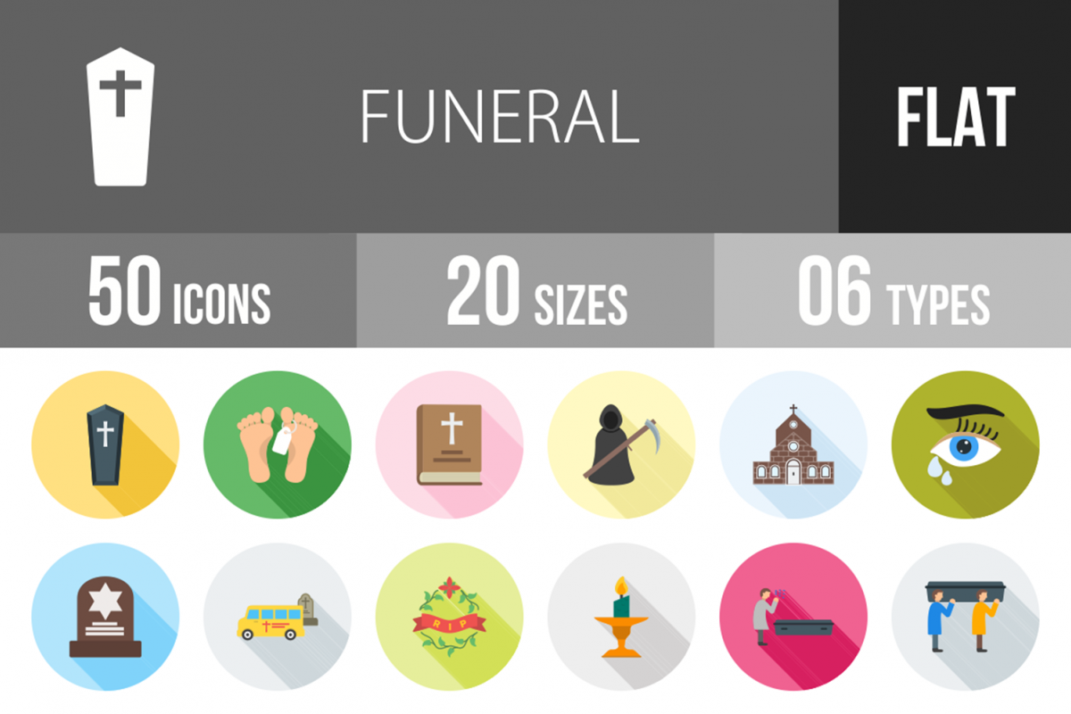 50 Funeral Flat Long Shadow Icons example image 1