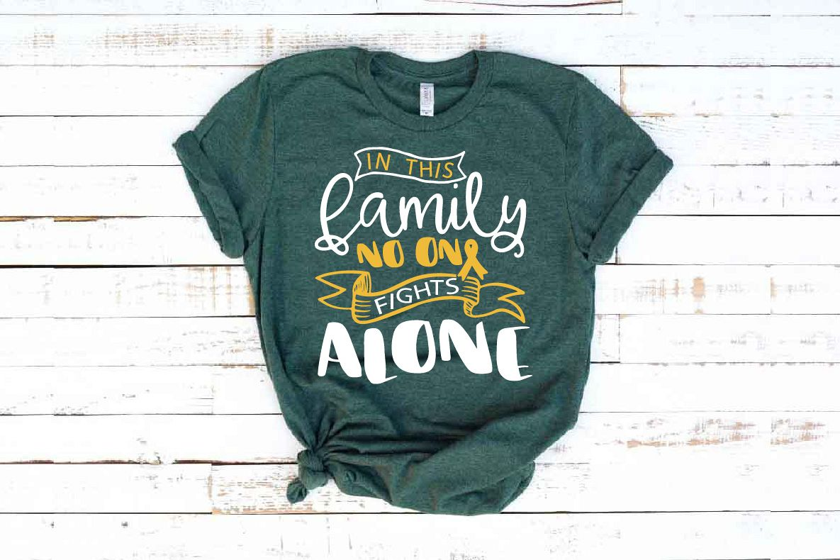 In this family no one fights alone Childhood Cancer Svg 1561 example image 1