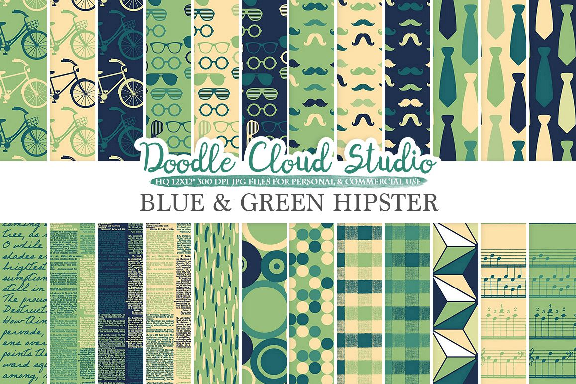Blue and Green Hipster digital paper Vintage Father's day tie mustaches bikes music glasses plaid Cream patterns, Personal & Commercial Use example image 1
