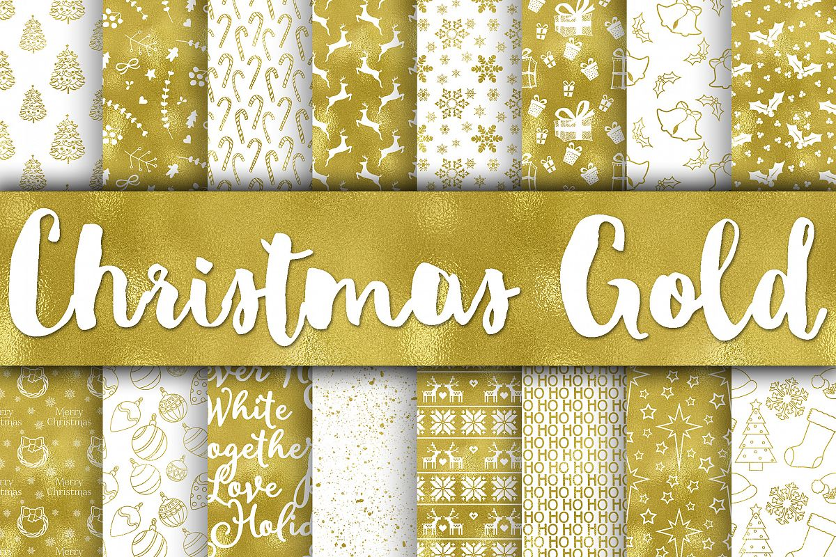 Christmas Gold Digital Papers example image 1