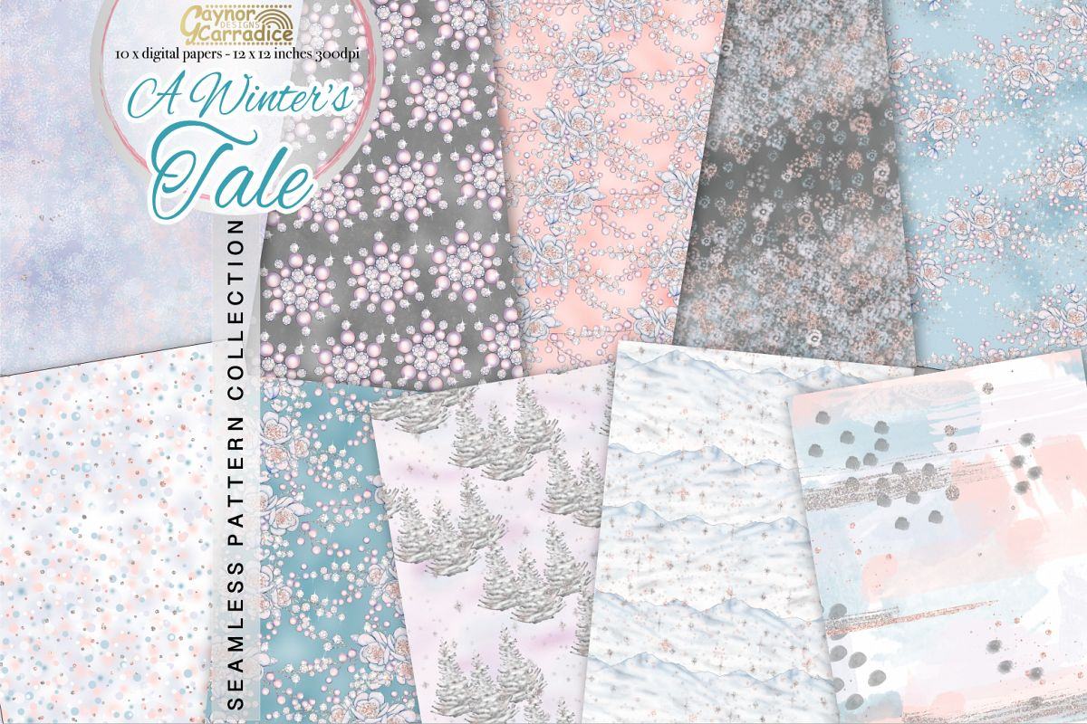 Winter fairy Tale Seamless Pattern collection example image 1