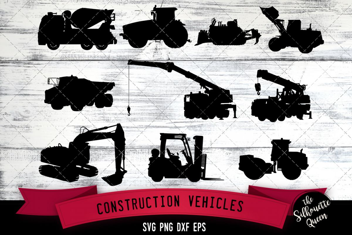 Construction Vehicles svg file, svg cut file example image 1