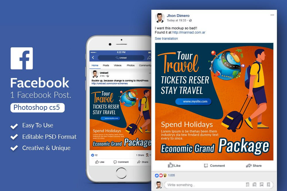 Tour & Traveling Agency Facebook Post Banner example image 1