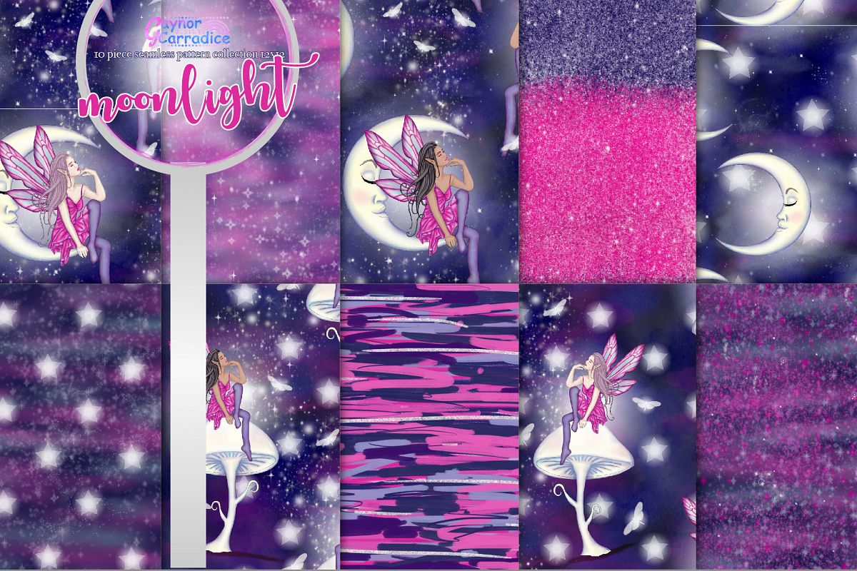 Moonlight Fairy Seamless Pattern Collection example image 1