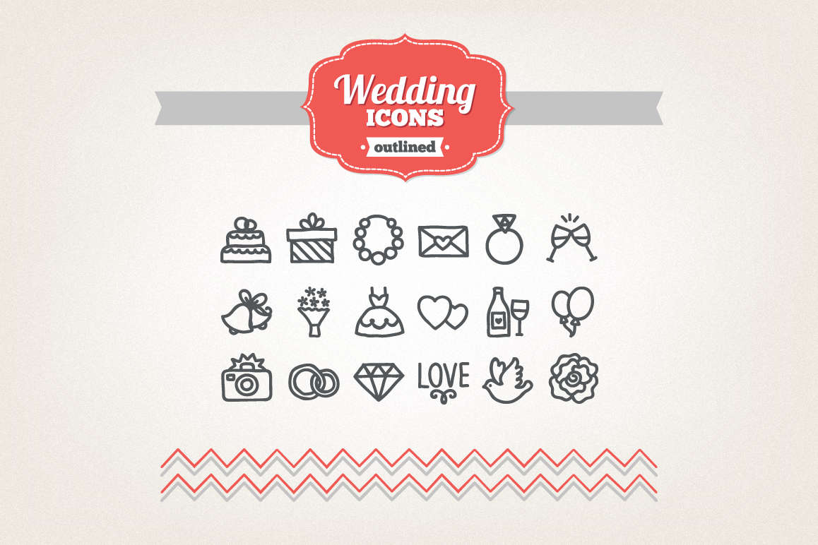 Hand Drawn Wedding Icons example image 1