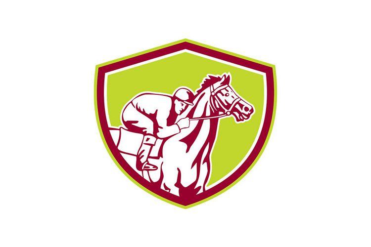 Jockey Horse Racing Shield Retro example image 1
