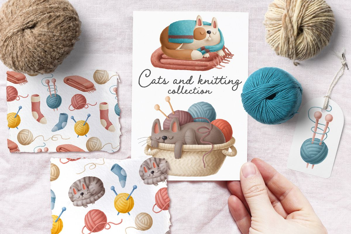 Cats and knitting example image 1
