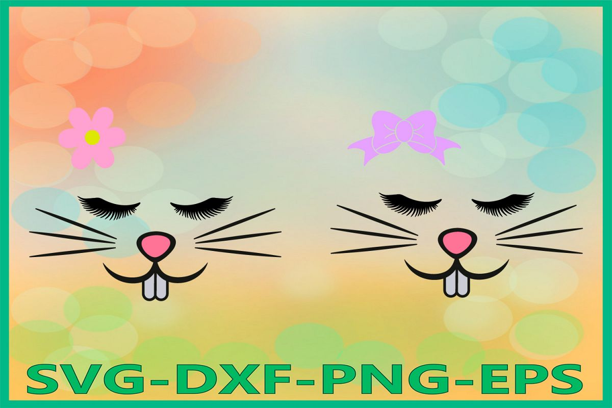 Bunny Girl Face Svg, Easter Bunny svg, Bunny eyelashes Svg example image 1