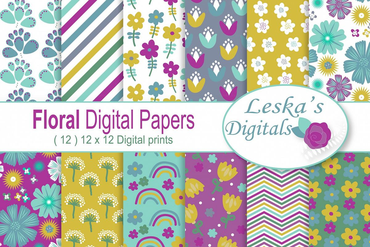 Floral Digital Paper example image 1