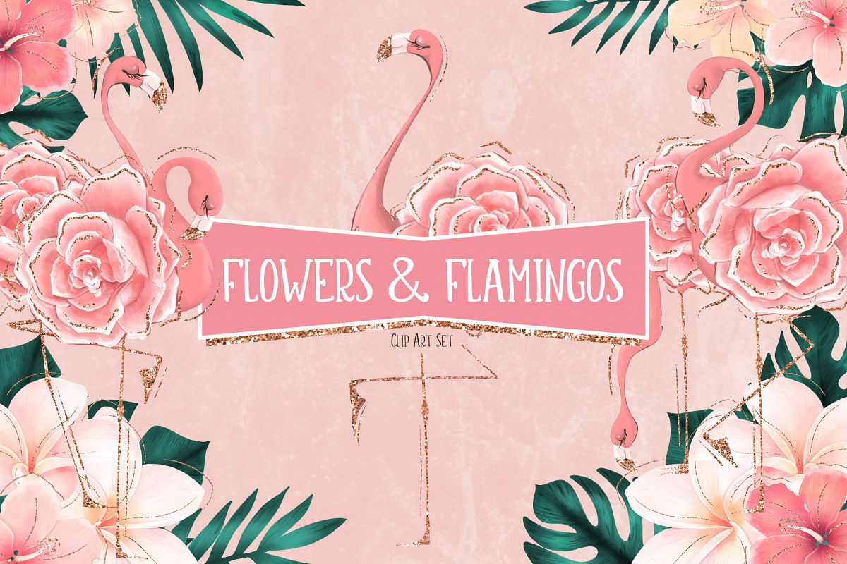 Tropical Flowers & Flamingos example image 1