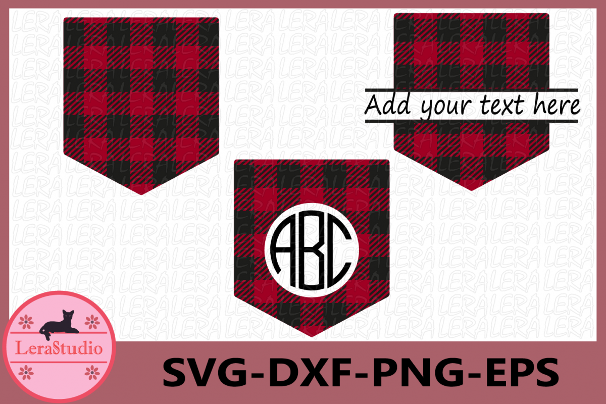 Shirt Pocket Monogram Frames SVG, Pocket Buffalo Plaid example image 1