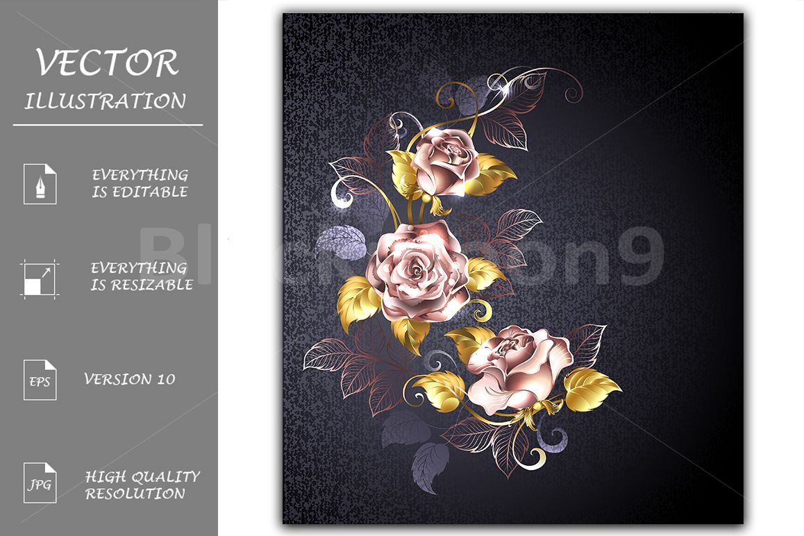 Three Roses in Pink Gold example image 1