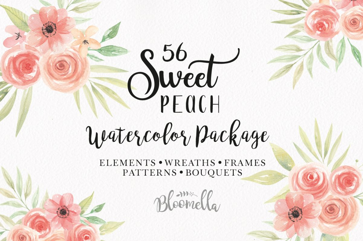 Sweet Peach Flower Floral Watercolor Frames Patterns Clipart