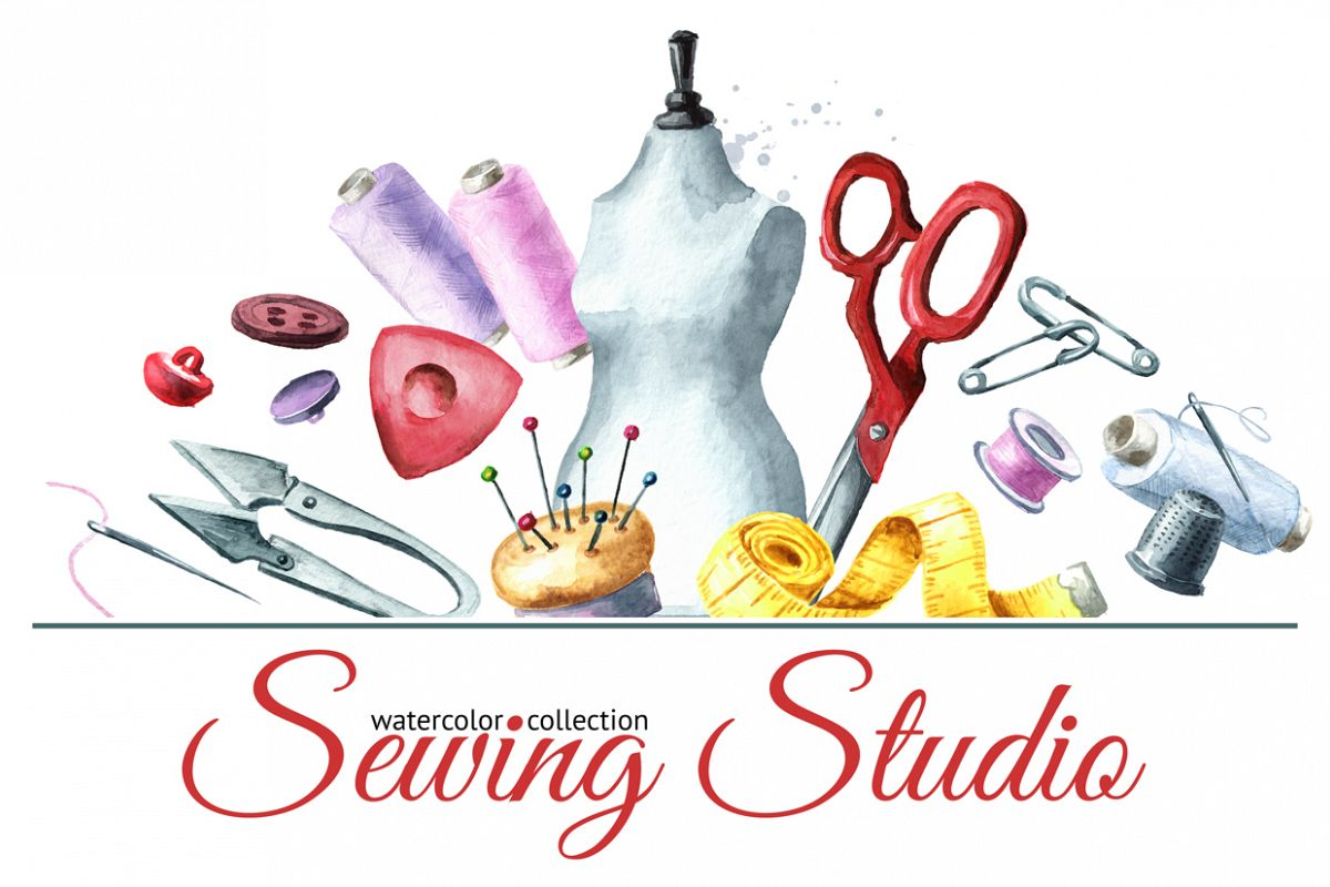 Sewing studio. Watercolor collection example image 1