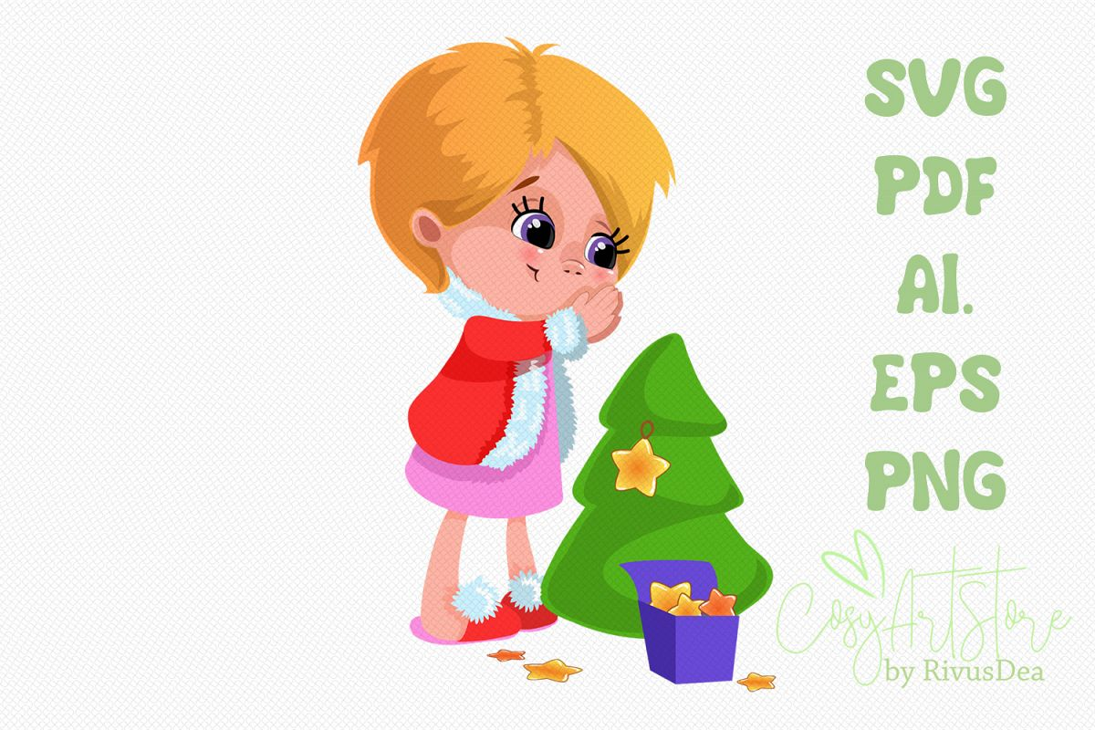 Cute Girl decorating Christmas tree with star svg example image 1