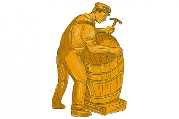 Cooper Making Wooden Barrel Drawing example image 1