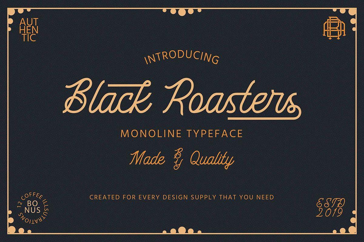 Black Roasters | Monoline Font example image 1