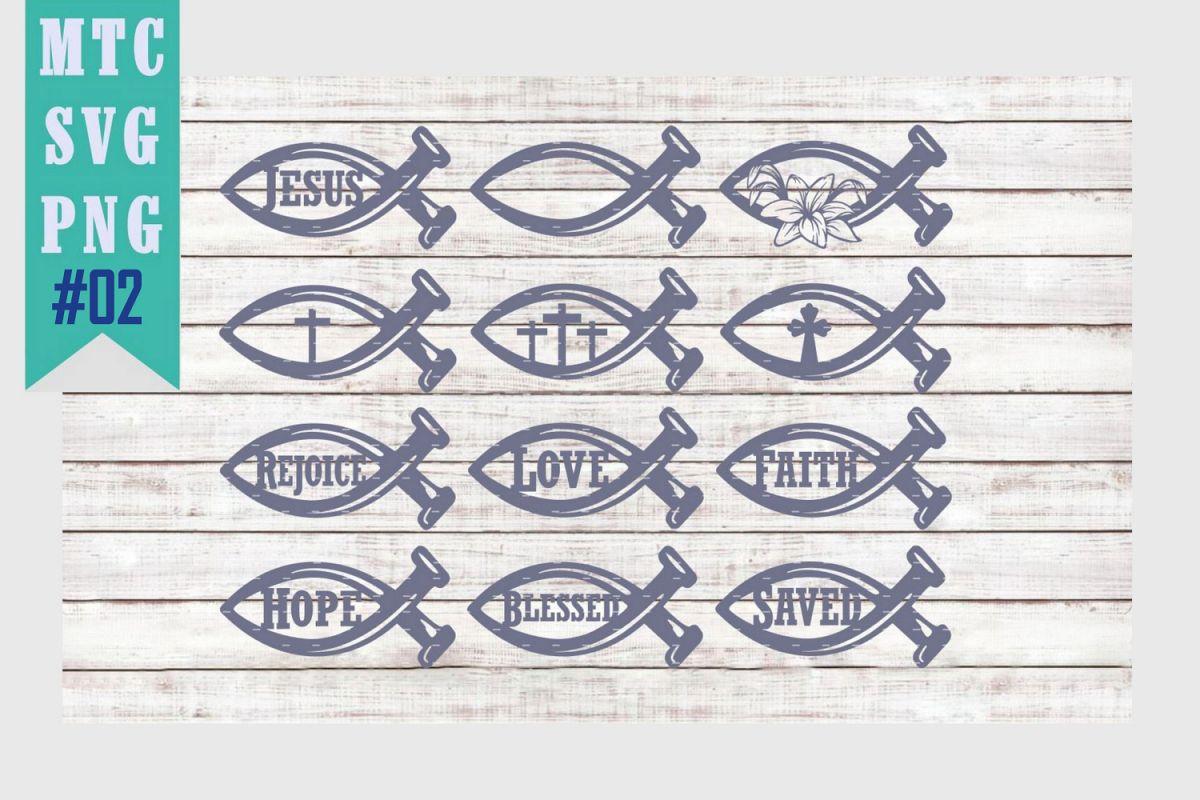 Jesus Fish Symbol Set #02 Bundle of 12 SVG Cut File example image 1