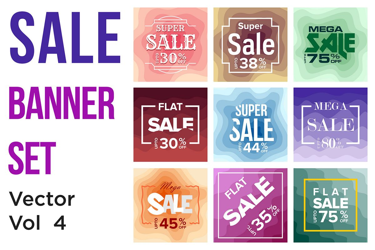 Sale Banner Colorful Paper Art Abstract Background example image 1