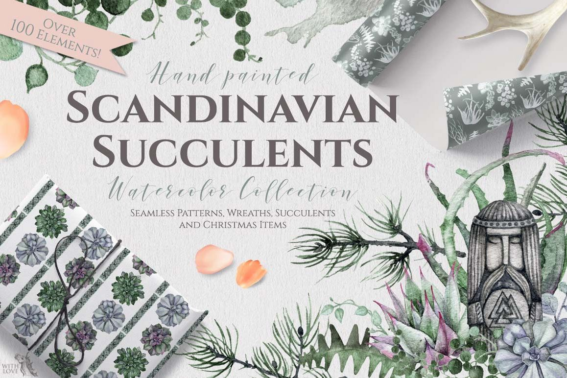 Watercolor Scandinavian Succulents example image 1