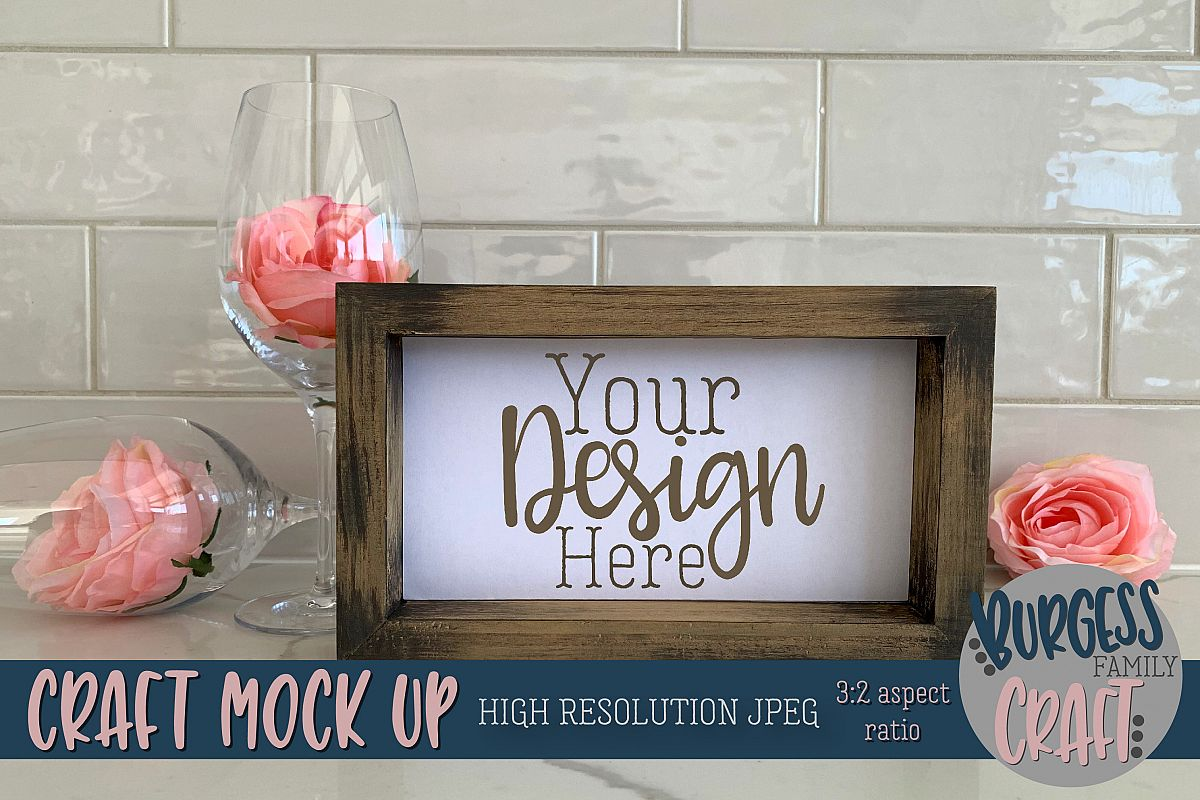 Pretty wood sign craft mock up |High Resolution JPEG example image 1