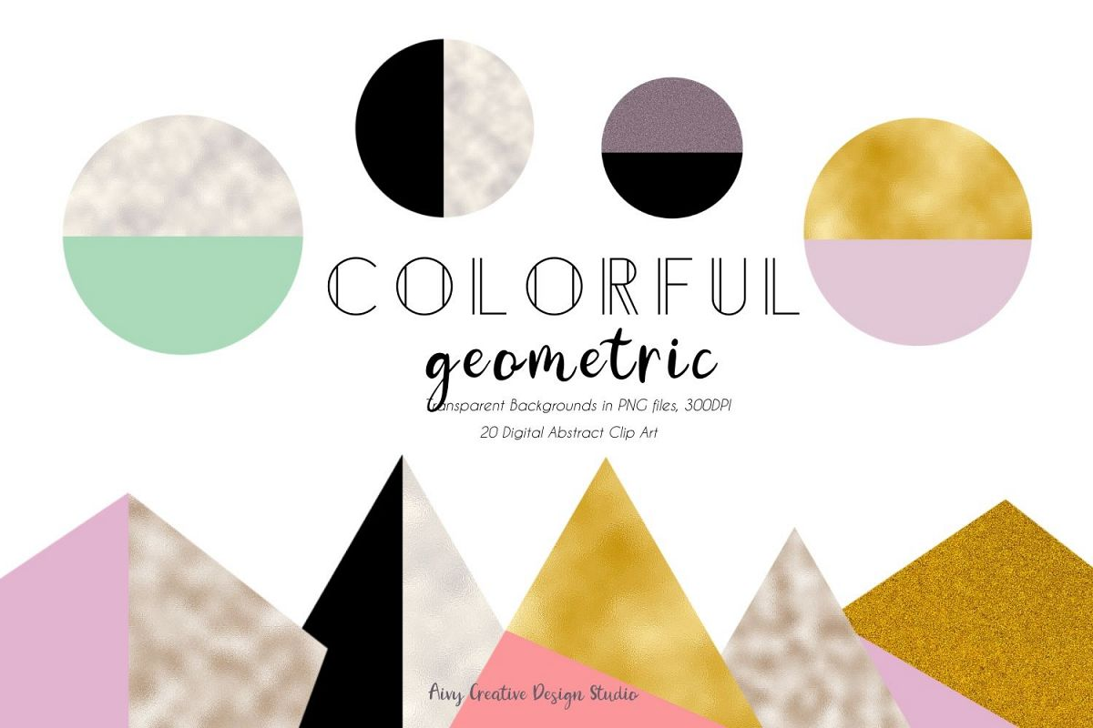 Colorful Geometric Element Mountain Abstract Clip Art Set example image 1