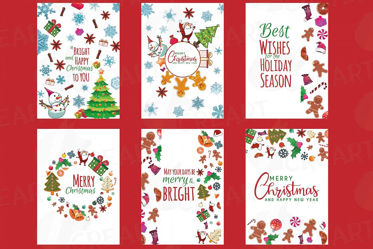 Christmas greeting Cards, Merry Christmas cards, labels