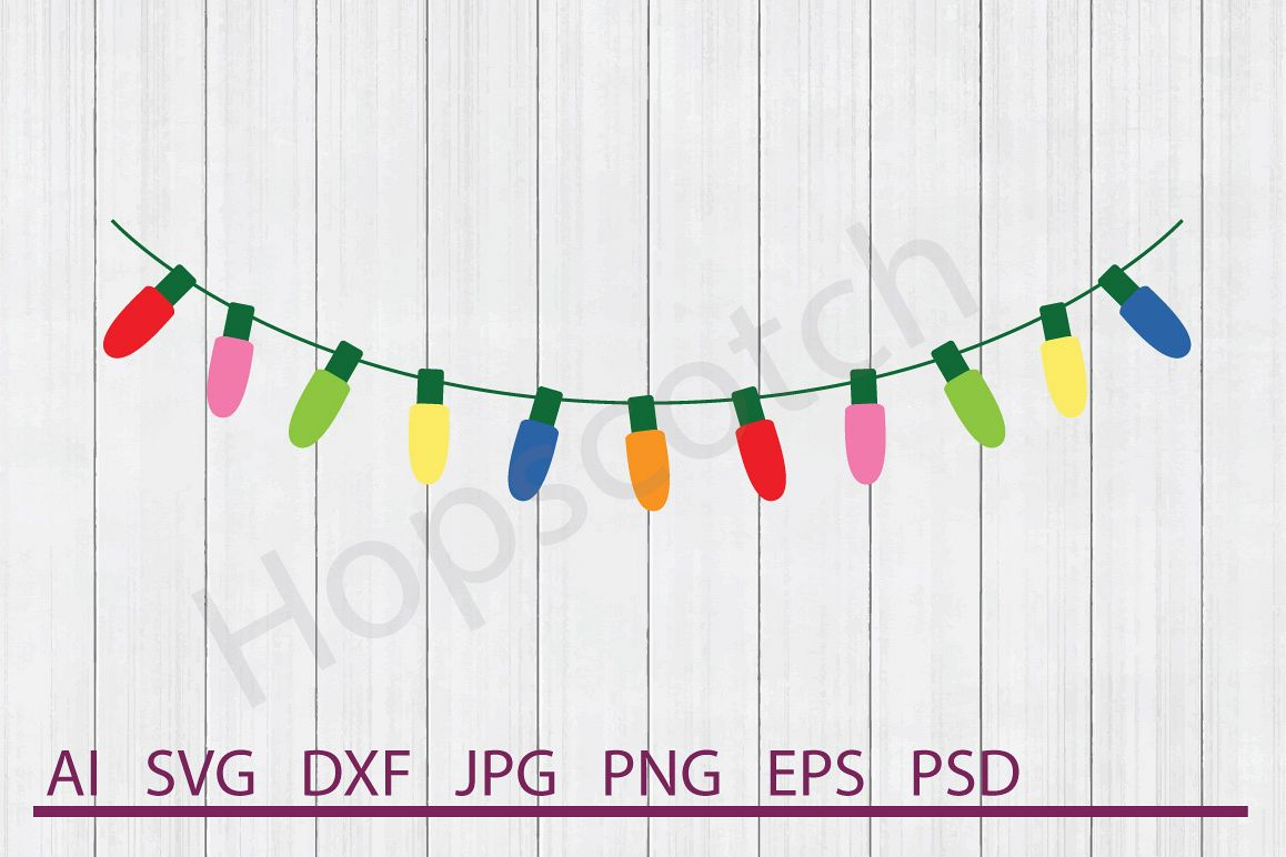 Lights SVG, Christmas Lights SVG, DXF File, Cuttable File example image 1