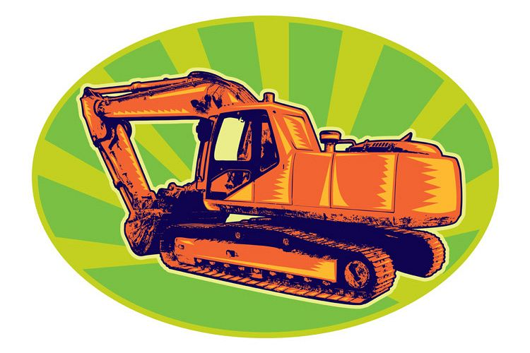 mechanical digger excavator retro example image 1
