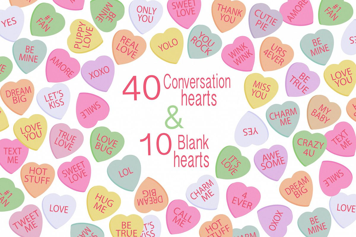 Conversation Hearts, Valentine Clipart example image 1