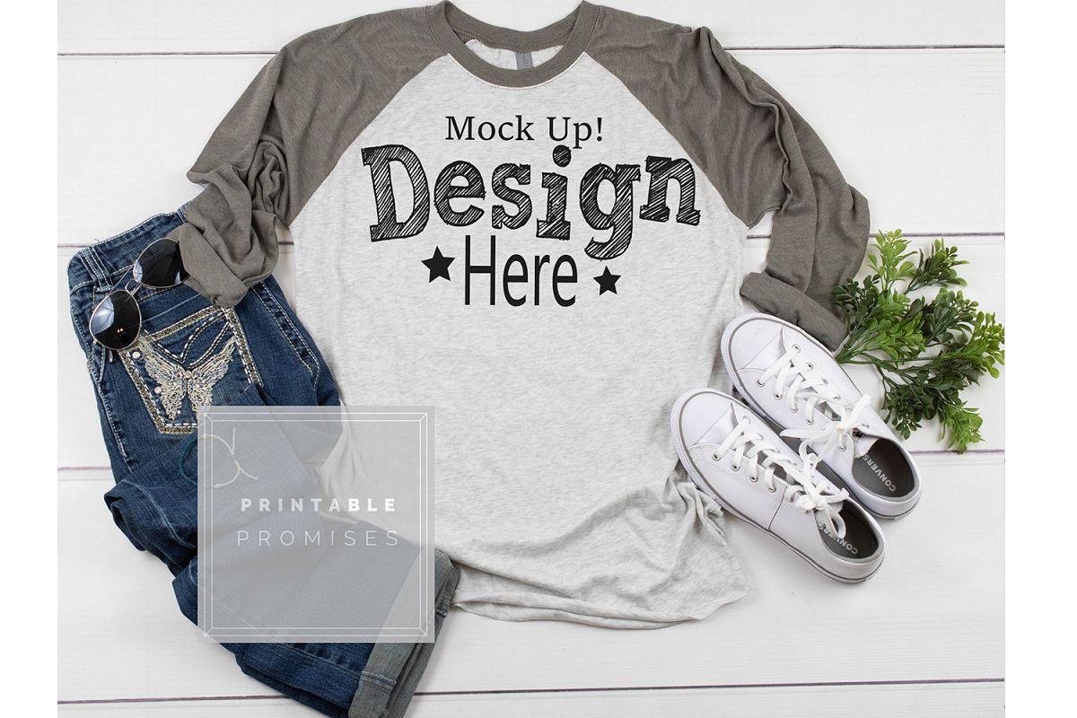 Raglan Mockup shirt Mockup Next Level Grey Shirt Mockup example image 1