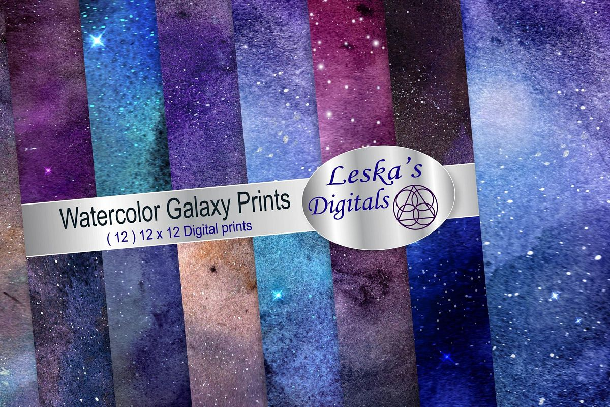 Watercolor Galaxy Digital Prints - Digital Papers example image 1