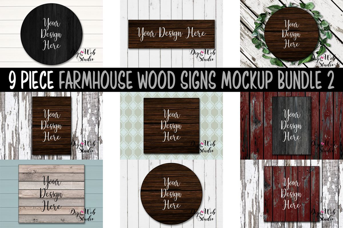 Wood Signs Mockup Bundle - 9 Piece Farmhouse Wood Signs 2 example image 1