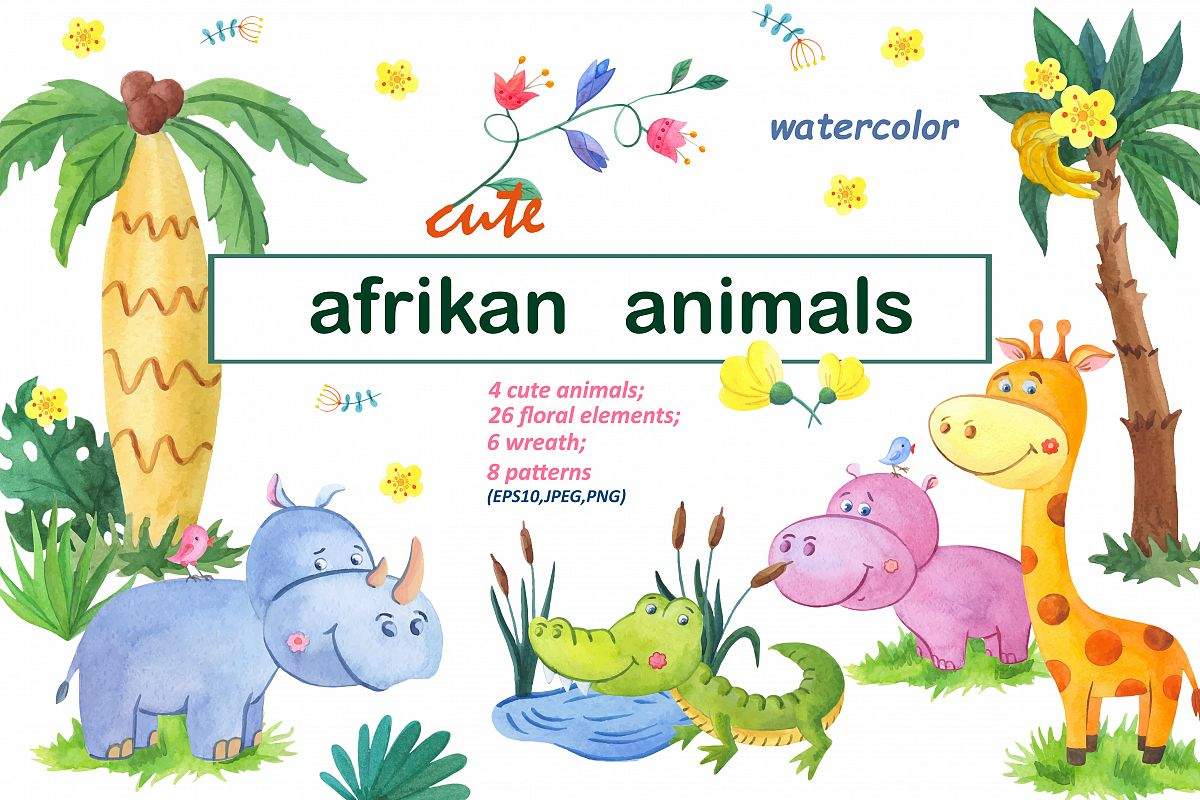 Cute afrikan animals.Watercolor set. example image 1