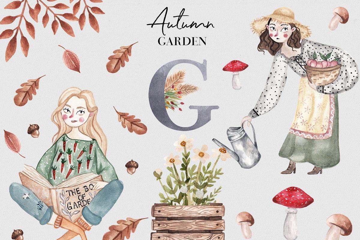 Autumn Garden Watercolor Collection example image 1