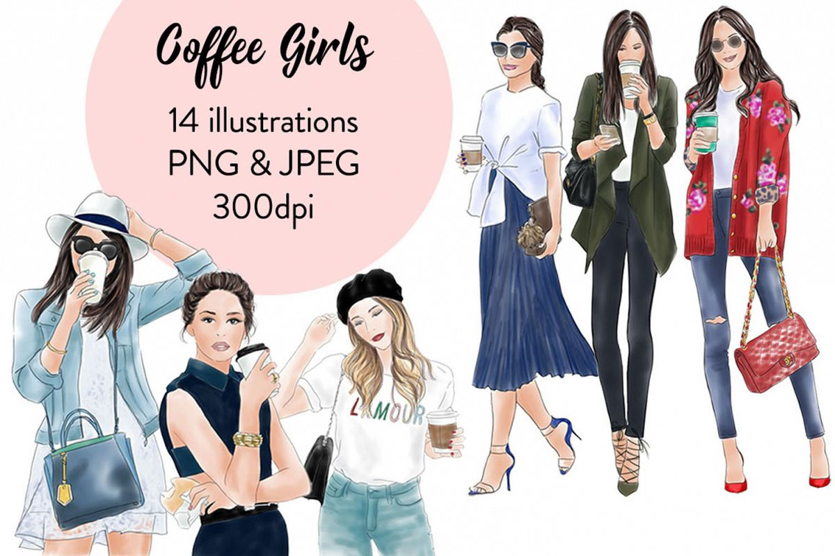 Coffee girls watercolour illustration clipart example image 1