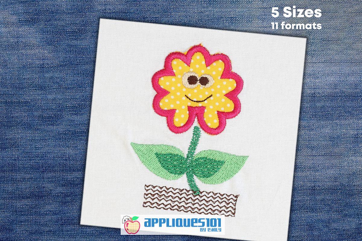 Cartoon Flower Machine Embroidery Applique Design - Flowers example image 1