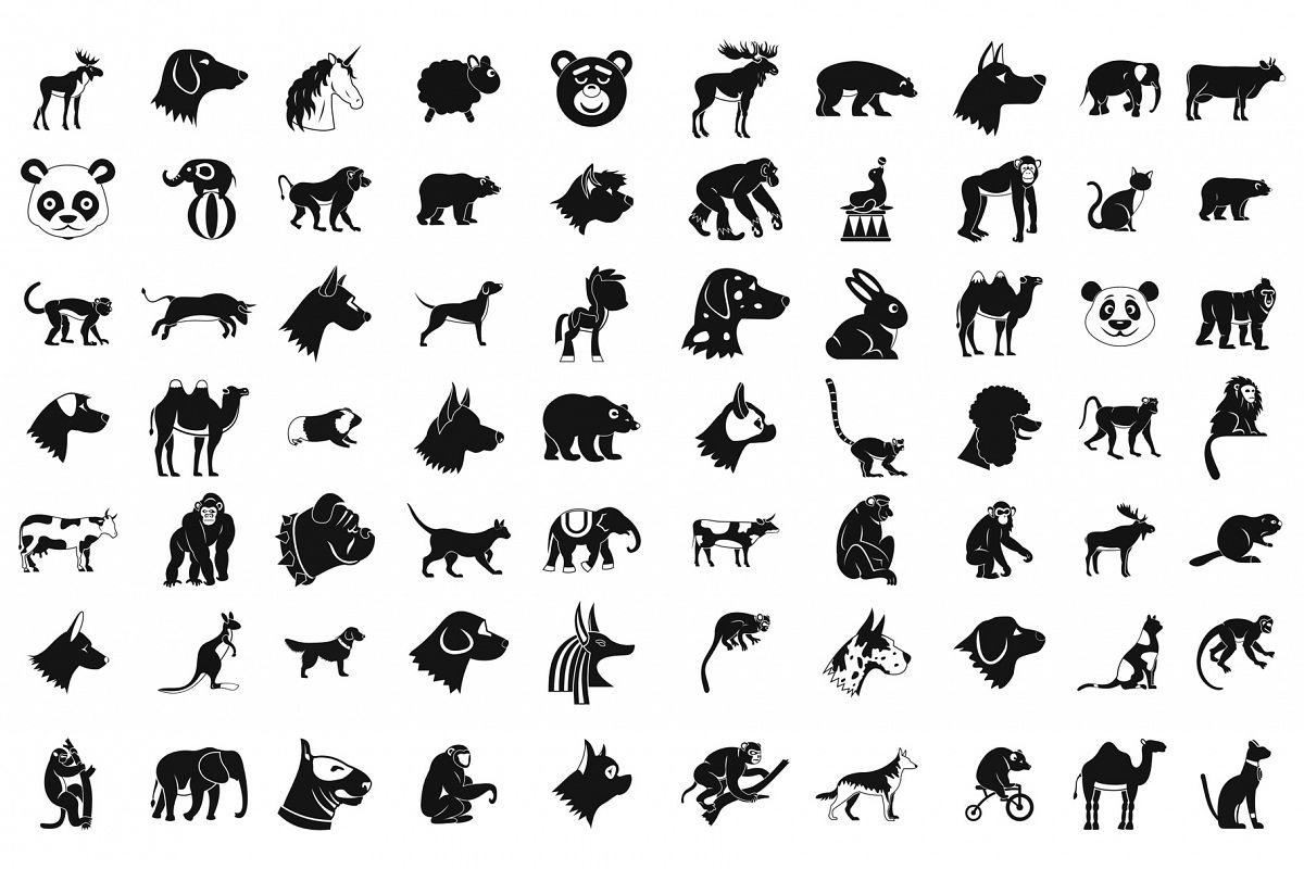 Animals icon set, simple style example image 1