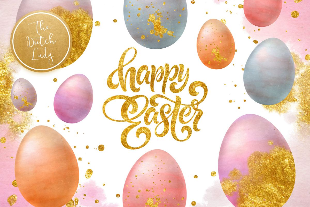 Sparkly Easter Eggs Clipart Set example image 1